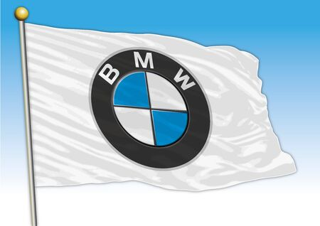 BMW car industrial group, flag with logo, illustration Archivio Fotografico - 129183334