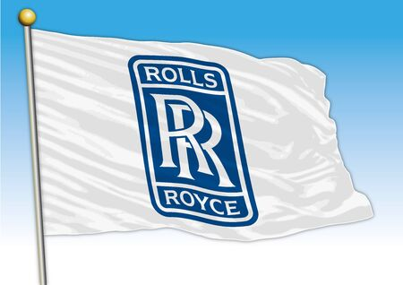 Rolls Royce car industrial group, flag with logo, illustration Archivio Fotografico - 129183333