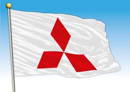 Mitsubishi car industrial group, flag with logo, illustration Archivio Fotografico - 129183336