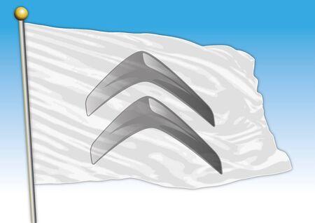 Citroen car industrial group, flag with logo, illustration Archivio Fotografico - 129183368
