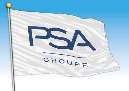 PSA Peugeot car industrial group, flag with logo, illustration Archivio Fotografico - 129183392