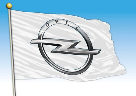 Opel car industrial group, flag with logo, illustration Archivio Fotografico - 129183395
