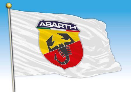 Abarth car industrial group, flag with logo, illustration Archivio Fotografico - 129183394
