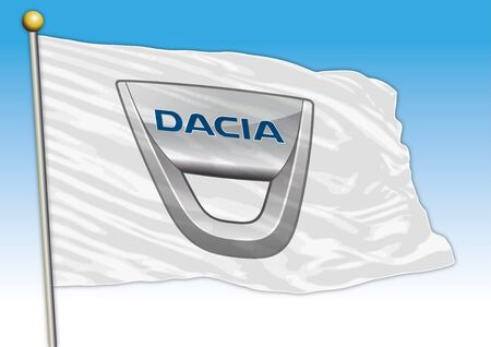 Dacia car industrial group, flag with logo, illustration Archivio Fotografico - 129183397