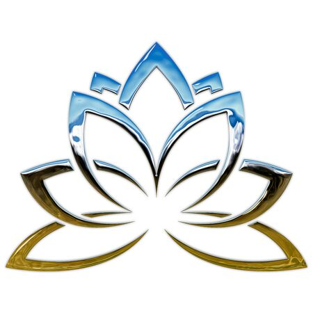 Lotus flower, metallic style graphic elaboration Standard-Bild - 129211407