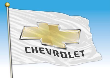 Chevrolet car industry, flag with logo, illustration Archivio Fotografico - 129183412