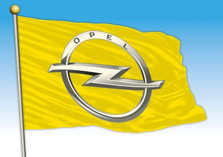 Opel car industry, flag with logo, illustration Archivio Fotografico - 129183416