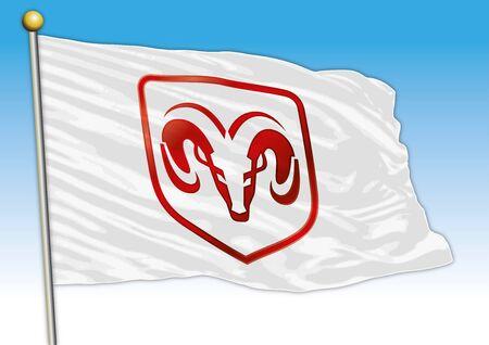 Dodge car industrial group, flag with logo, illustration Archivio Fotografico - 129183417
