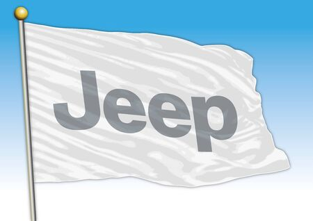 Jeep car industry, flag with logo, illustration Archivio Fotografico - 129334940