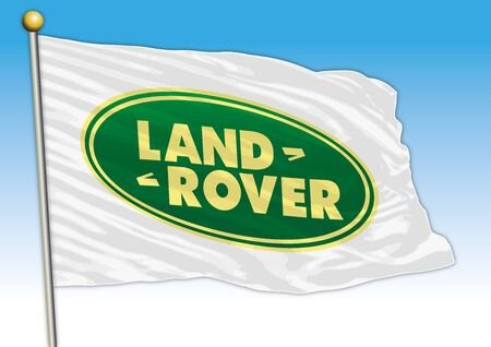 Land Rover car industry, flag with logo, illustration Archivio Fotografico - 129334942