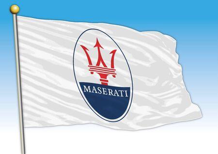 Maserati car industry, flag with logo, illustration Archivio Fotografico - 129334944
