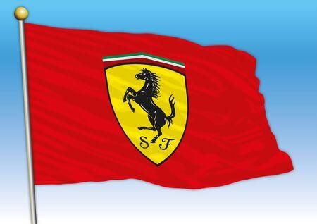 Ferrari stable F1 car industry, flag with logo, illustration Archivio Fotografico - 130077527