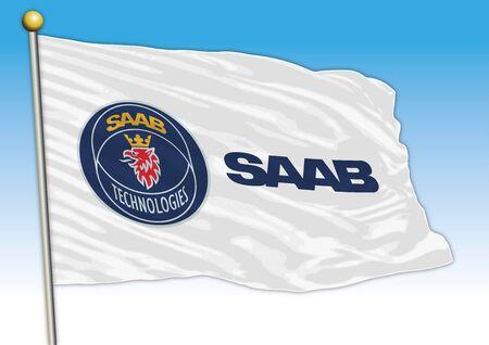 Saab car industry, flag with logo, illustration
