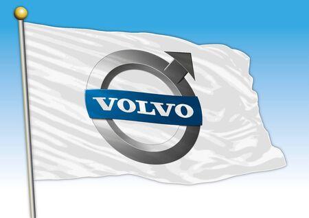 Volvo car industry, flag with logo, illustration