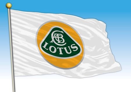 Lotus car industry, flag with logo, illustration