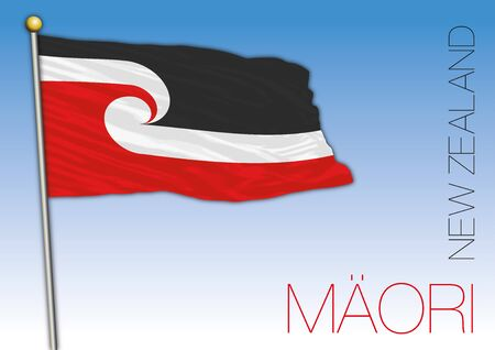 New Zealand Maori language flag, vector illustration Archivio Fotografico - 130088388