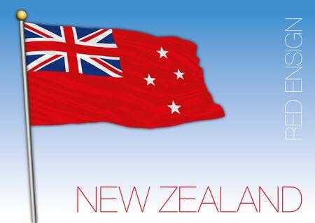 New Zealand red ensign flag, vector illustration