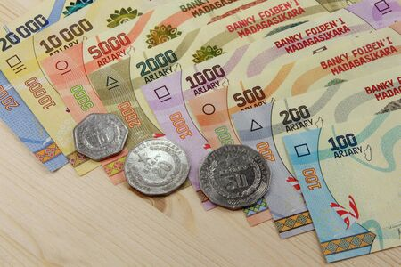 Ariary, Banknotes and Coins of the state of Madagascar Archivio Fotografico - 130088395