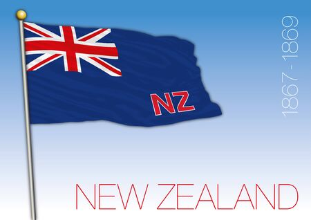New Zealand historical flag, vector illustration, 1867 - 1869 Archivio Fotografico - 130088398