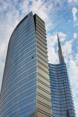 Milan, Italy, September 2019 - Piazza Gae Aulenti, skyscrapers, Centro Direzionale of Milan Editorial