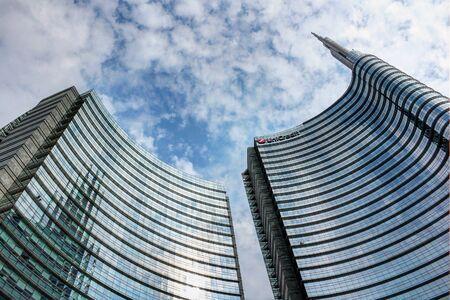 Milan, Italy, September 2019 - Piazza Gae Aulenti, skyscrapers, Centro Direzionale of Milan Archivio Fotografico - 130077656