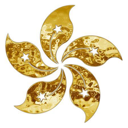 Hong Kong national symbol, gold and metallic style