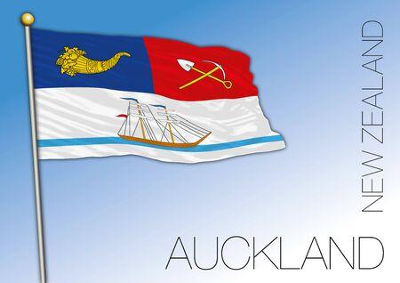 Auckland flag, New Zealand, vector illustration Ilustração