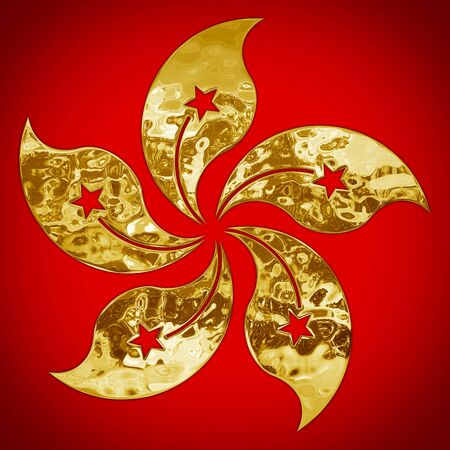 Hong Kong national symbol, gold metallic style on the red background