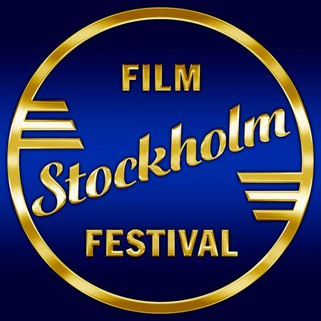 Stockholm Film Festival logo, Sweden, illustration, editorial, gold metallic style