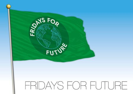 Fridays for Future flag with symbol, editorial, vector illustration