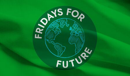Fridays for Future flag with symbol, editorial, graphic illustration