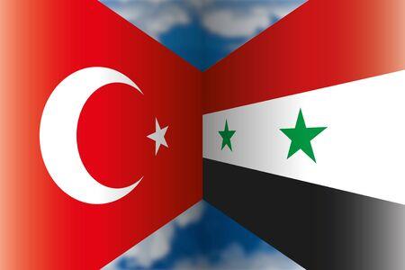 Turkey VS Syria flags, vector illustration