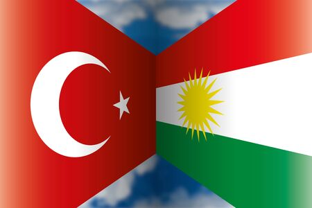 Turkey VS Kurdistan flags, vector illustration Ilustração
