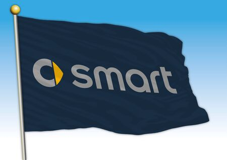 Smart car industrial group, flag with logo, illustration