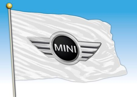 Mini car industrial group, flag with logo, illustration 報道画像