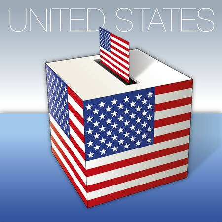 United States of America, ballot box with flags, vector illustration