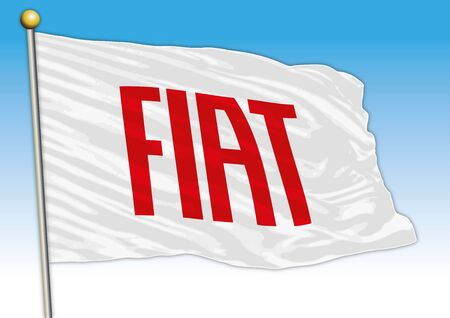 Fiat industrial group car, metallic logo isolated on the red background Stock fotó - 133268091