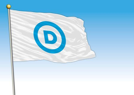 Democratic Party flag, United States, vector illustration, editorial