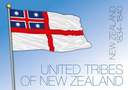 New Zealand historical flag, 1834 - 1840, United Tribes, vector illustration