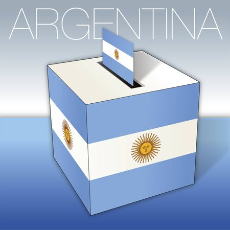Argentina, voting box, flag and Argentina Republic national symbols, vector illustration