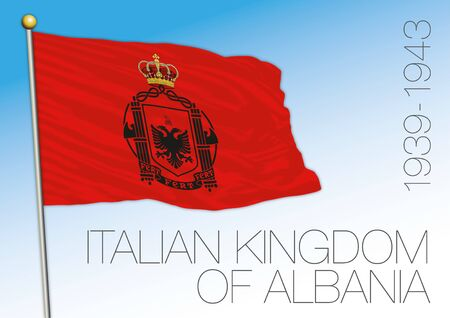 Albania, historical flag of the Italian occupation in the 1939 - 1943 years period, europe, coat of arms