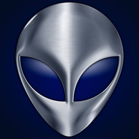 Alien symbol, metallic surface on the blue background, graphic elaboration