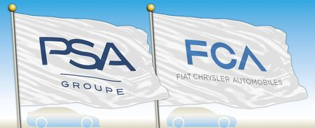 PSA and FCA car industrial group, flags with brands, vector illustration Redakční