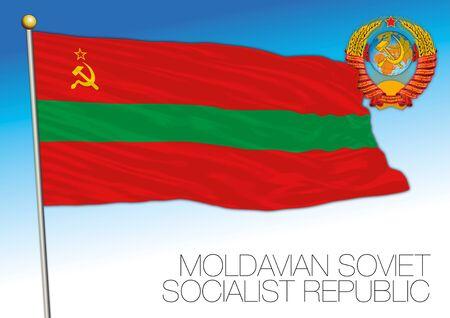 Moldavian historical flag with Soviet Union coat of arms, vector illustration, Moldova