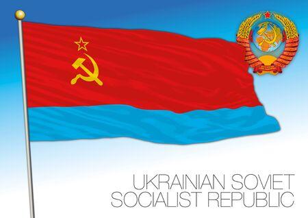 Ukrainian historical flag with Soviet Union coat of arms, vector illustration, Ukraine Illusztráció