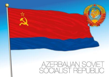 Azerbaijan flag with Soviet Union coat of arms, vector illustration
