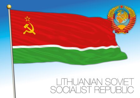 Lithuanian historical flag with Soviet Union coat of arms, vector illustration Ilustrace