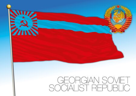 Georgian historical flag with Soviet Union coat of arms, vector illustration, Georgia Stock fotó - 133298506
