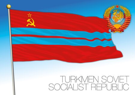 Turkmen historical flag with Soviet Union coat of arms, vector illustration, Turkmenistan Illusztráció