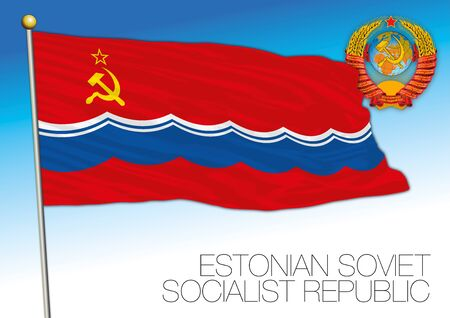 Estonian flag with Soviet Union coat of arms, vector illustration, Estonia